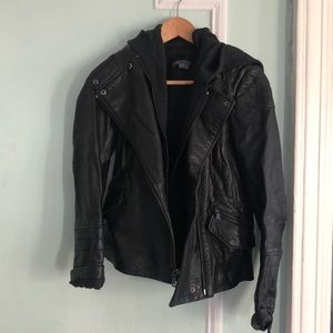 vince hooded leather moto jacket